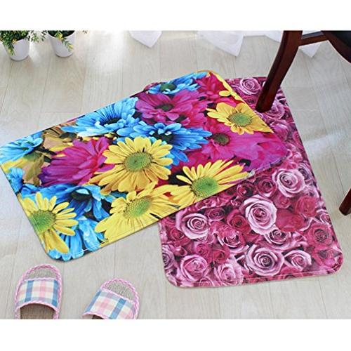 Sothread 3PC/Set Non-Slip Printed Mat Rug+Lid