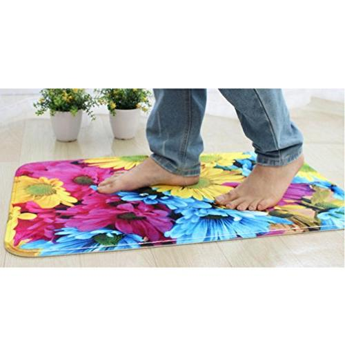 Sothread 3PC/Set Non-Slip Floral Printed Decor Rug+Lid Toilet Cover+Bath