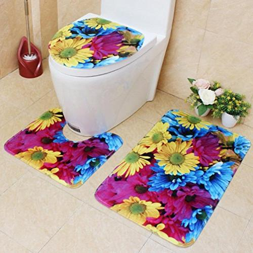 Sothread 3PC/Set Non-Slip Printed Rug+Lid Cover+Bath Mat