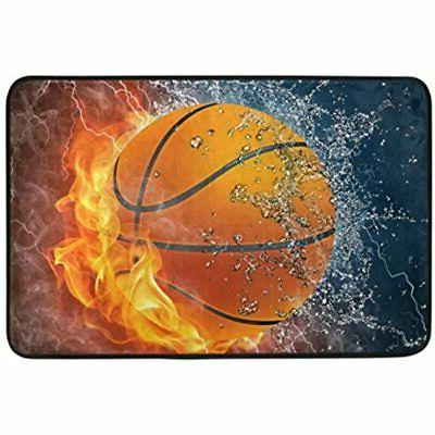 Sport 72 Inches Shower Curtain Mat Fire Water Fabric