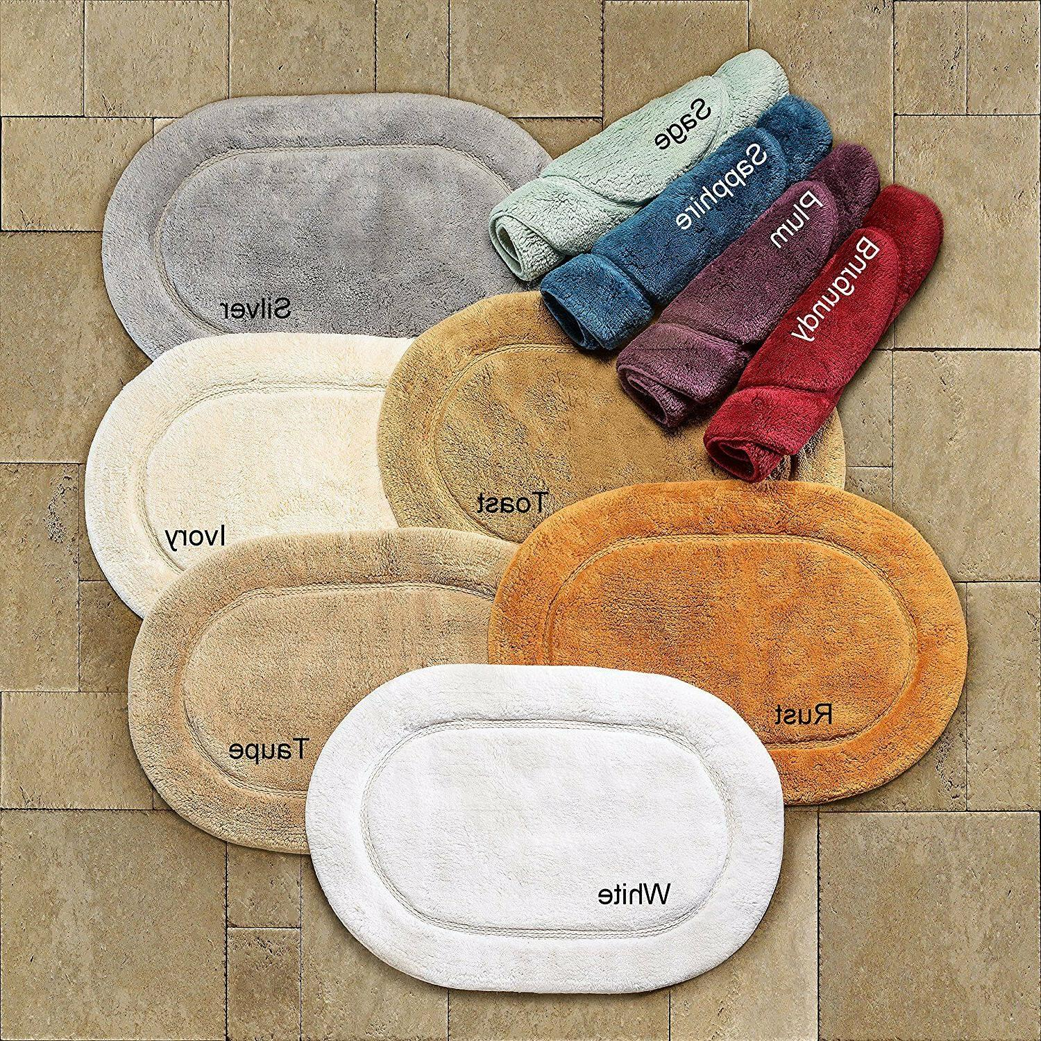 Set Oval Bathroom Rugs 2 Sizes Cotton Mat