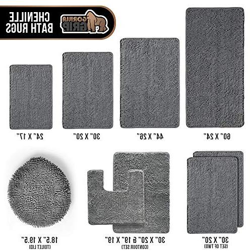 Gorilla Original Luxury Chenille Bathroom Mat , Extra Absorbent Shaggy Wash/Dry, Mats for and Bath