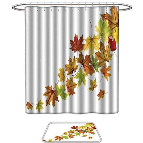 shower curtain mat setmaple leaves