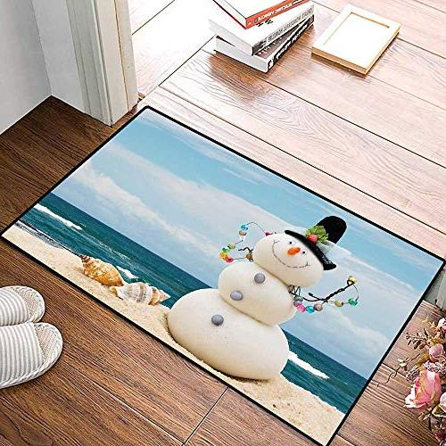 "Snowman Door for Home Holiday Theme Snowman Seashells Sitting on Beach Coastal Bath for Bathroom Mat 16""x24"""