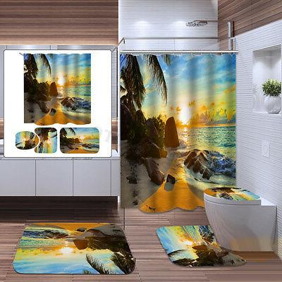 Sunset Polyester Curtain Non Slip Cover Rug Set