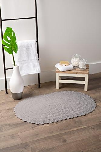 DII Cotton Oval Mat or in of Vanity, Tub, Sink, and Toilet,