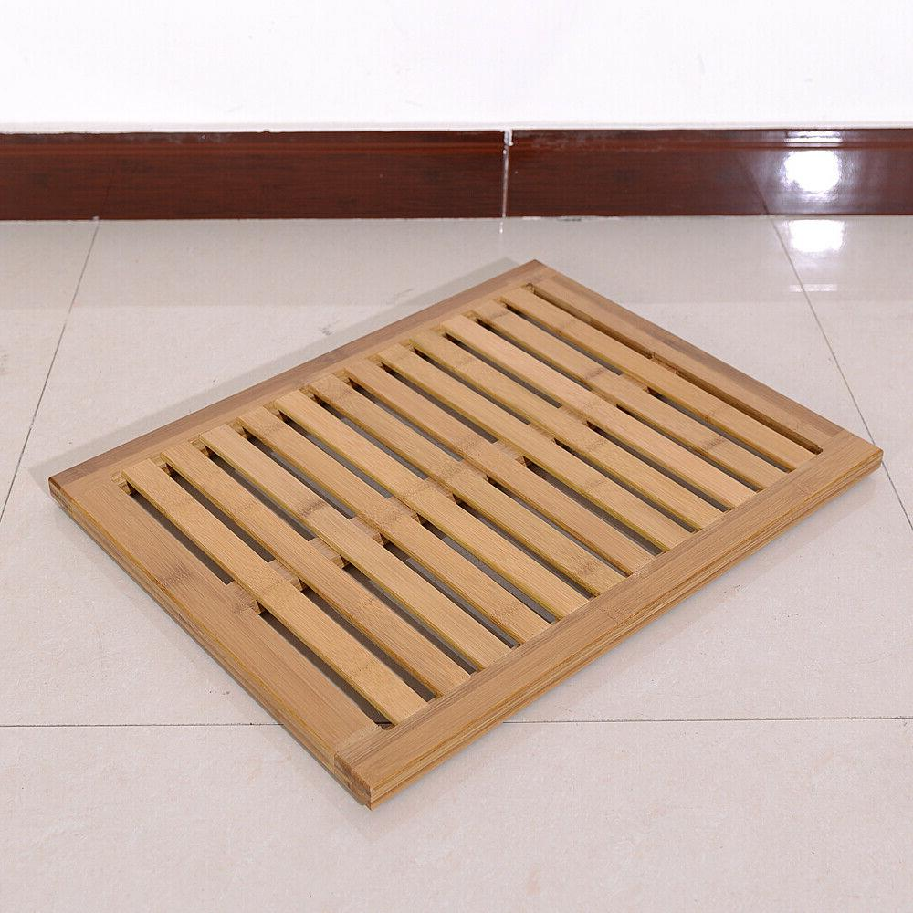 Bamboo Floor Bath Wood Pad Mat Home US