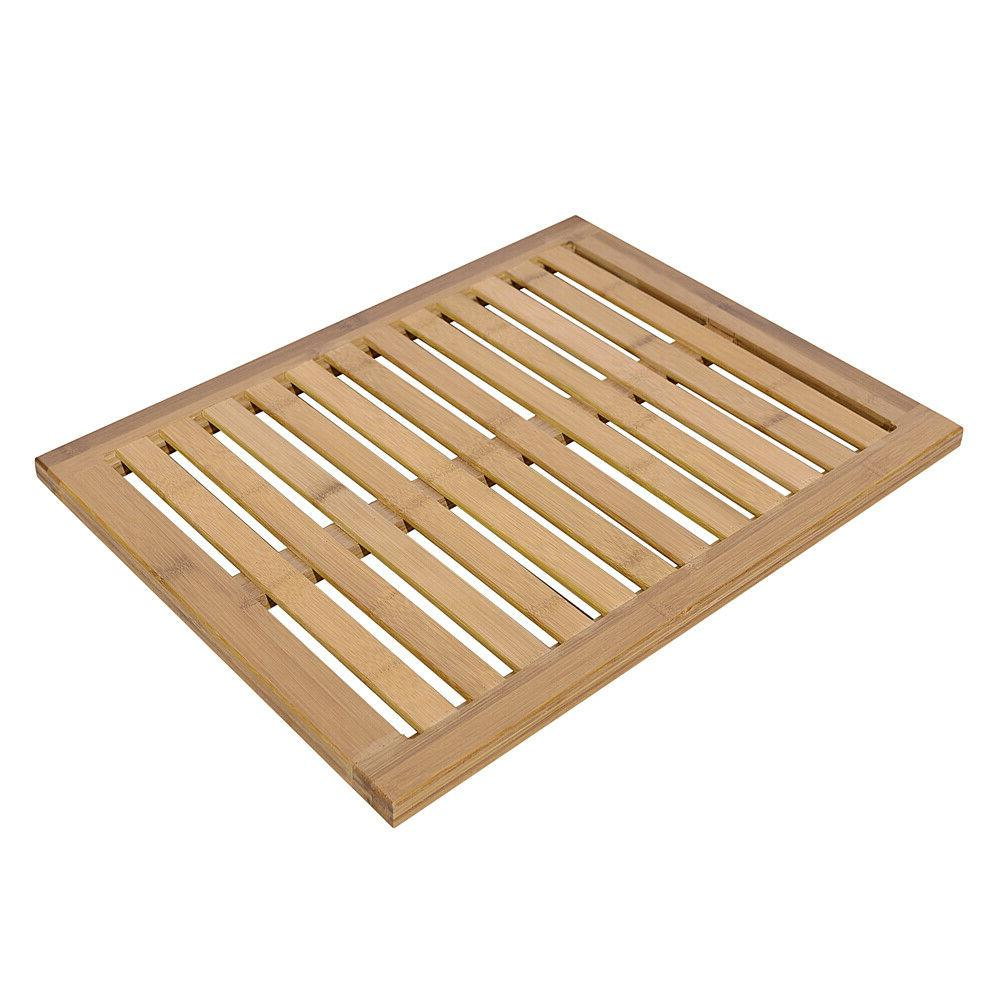 bamboo floor bath wood pad mat shower