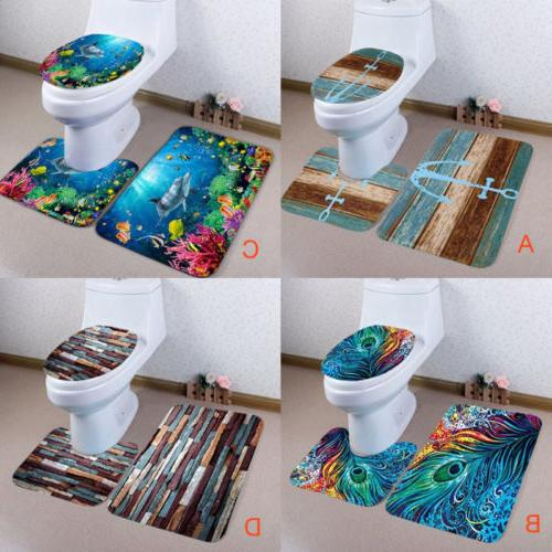 USA Nonslip Peacock Feathers Printed 3Pcs Bathroom Rugs Set