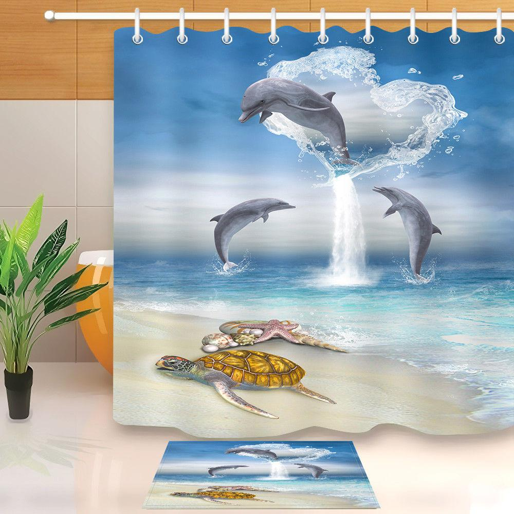 Waterproof Fabric Jumping Dolphin Sea Turtle Shower Curtain
