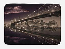 Ambesonne Landscape Bath Mat by, Brooklyn Bridge Sunset NYC