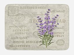 Lunarable Lavender Bath Mat by, Vintage Postcard Composition