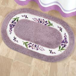 Lavender with White Floral Border Tufted Bath Floor Matt Rug
