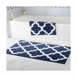 Lavish Home 100% Cotton 2 Piece Trellis Bathroom Mat Set - N
