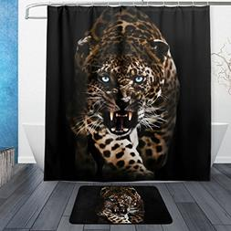 Franzibla Leopard Pattern Print Shower Curtains 66 x 72 inch