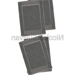 Luxury Hotel and Spa 100% Cotton Banded Panel Bath Mat Set 2
