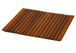 Bare Decor Lykos String Spa Shower Mat in Solid Teak Wood Oi