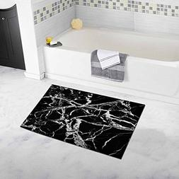 InterestPrint Marble in Black and White Bath Rug Non-slip Ba