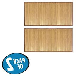 mDesign Water-Resistant Bamboo Floor Mat for Bathroom - Pack