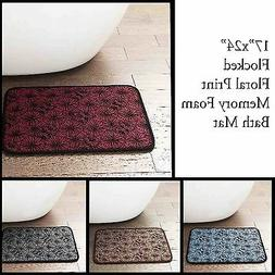 Memory Foam Bath Mat/area Rug with Flocked Floral Pattern: 1
