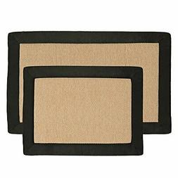 2 pc Memory Foam Bath Mat Set by Lavish Home - Faux Linen Fl