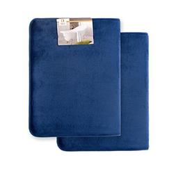 Memory Foam Bathrug 2 Pack Set - Royal Blue - Bath Mat and S