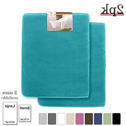 Memory Foam Bathrug 2 Pack Set – Teal Blue - Bath Mat and