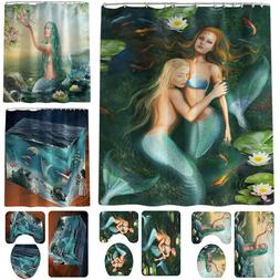 Mermaid Shower Curtain Bathroom Rug Mat Contour Hooks Toilet