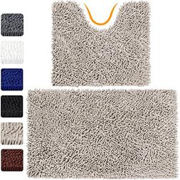 VDOMUS Microfiber Bathroom Rugs Combo, 2 Piece Rug Set, Incl