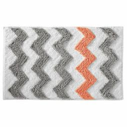 InterDesign Microfiber Chevron Rug, 34 by 21-Inch, Light Gra