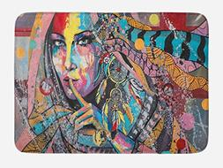 Ambesonne Modern Art Bath Mat by, Sexy Girl with Tribal Drea