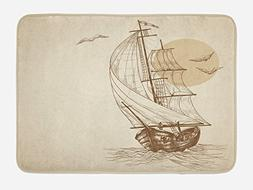 Ambesonne Nautical Bath Mat by, Sailing Ship Floating on Wav
