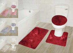 NEW 3PC SET SOLID SHAGGY BATHROOM BATH MAT COUNTOUR RUG TOIL