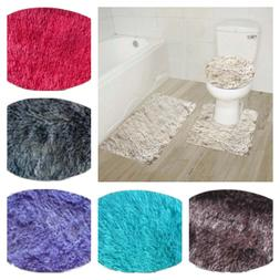 NEW FURRY SOFT DESIGN 3PC BATHROOM SET BATH RUG CONTOUR MAT