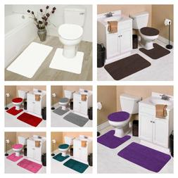 NEW MODERN SOLID BATHROOM BATH RUG CONTOUR MAT TOILET LID CO