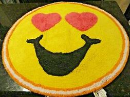 "New Smiley Face Emoji Yellow 26"" round Bath RUG Cotton Pink"