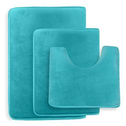 Clara Clark Non Slip Memory Foam Tub-Shower Bath Rug Set, In