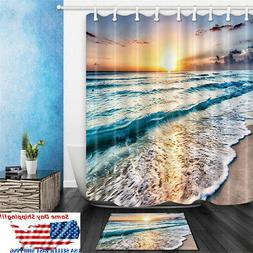 Ocean Beach Sunset Polyester Waterproof Bathroom Shower Curt