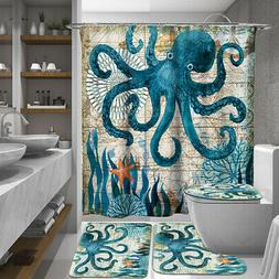 Octopus Bathroom Polyester Shower Curtain Toilet Non Slip Ru