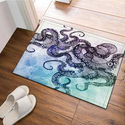 Octopus Pattern Bath Rug Non-Slip Floor Outdoor Indoor Front