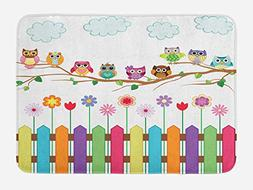 Ambesonne Owls Bath Mat, Owls on a Branch Sunny Day in Count