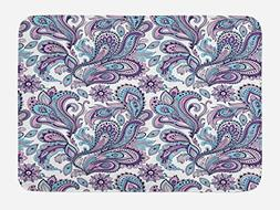 Ambesonne Paisley Bath Mat by, Blue and Purple Flowers Leave