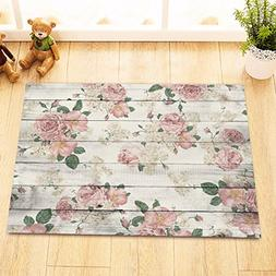 LB Pink Flower on Rustic Wood Panel Print Bath Rugs for Bedr