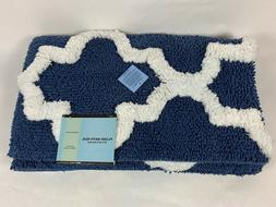 Plush Bath Rug Mat Blue and White Trellis Pattern 24 in x 60