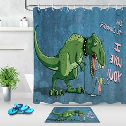 Polyester Fabric Funny Pet Tyrannosaurus Rex Shower Curtain