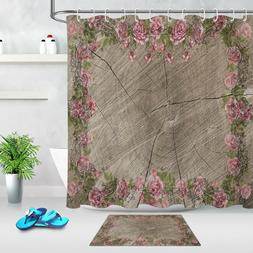 Polyester Fabric Wood Board Pink Flower Pattern Shower Curta