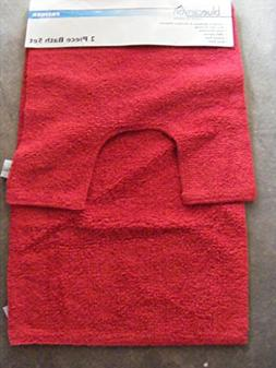 Premier Deep Red 100% Cotton Bath and Pedestal Mat Set