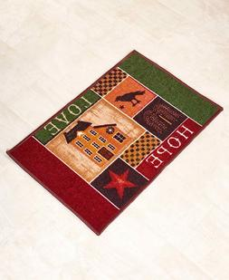 Primitive Country Star Bath Rug Willow Tree Checkers Home Sw