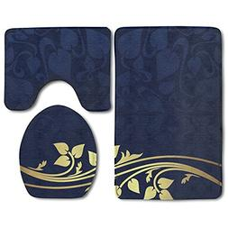 Hexu Romantic Royal Leaf Pattern With Golden Floral Branch W