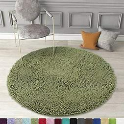 Round Bath Mat Non-Slip Chenille 3 Feet Shaggy Bathroom Rugs